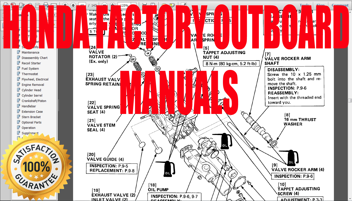 Honda Outboard Service Workshop and Repair Manual BF2D. ""