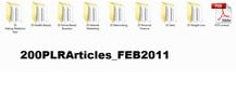 Thumbnail *must have*200 Niche Articles (FEB 2011) with PLR