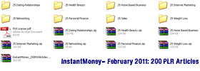 Thumbnail Instant Money 200 PLR Articles - February 2011 (new)