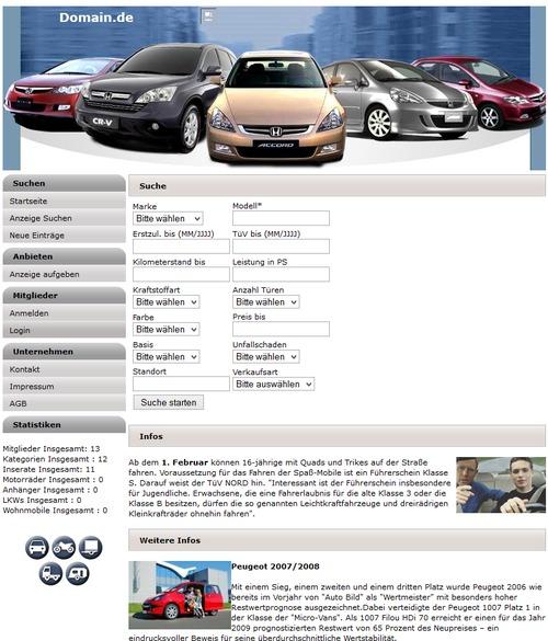 Pay for KFZ Markt Profi Power System PHP Script Homepage Portal Web