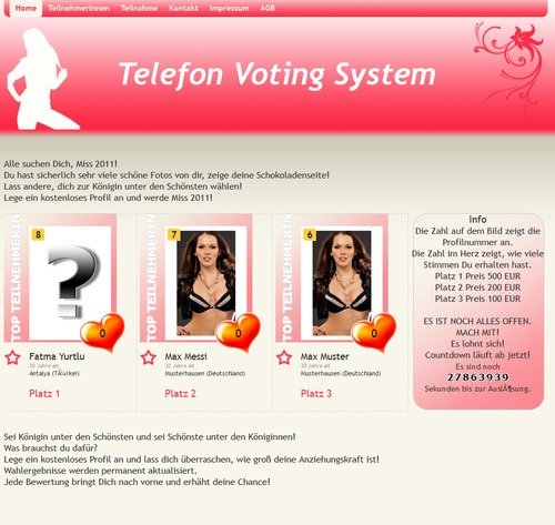 Pay for Telefon Voting System PHP Script CMS Content Management