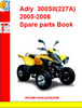 Thumbnail Adly  ATV-300SII(227A) 2005-2006 Spare parts Book
