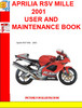 Thumbnail APRILIA RSV MILLE 2001 USER AND MAINTENANCE BOOK