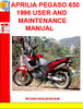 Thumbnail APRILIA PEGASO 650 1996 USER AND MAINTENANCE MANUAL