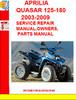 Thumbnail APRILIA QUASAR 125-180 2003-2009 SERVICE REPAIR MANUAL,OWNER