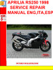 Thumbnail APRILIA RS250 1998 SERVICE REPAIR MANUAL ENG,ITA,ESP