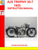 Thumbnail AJS TROPHY 33-7  1933 INSTRUCTION MANUAL