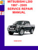 Thumbnail MITSUBISHI L200 1997 - 2005 SERVICE REPAIR MANUAL