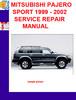 Thumbnail MITSUBISHI PAJERO SPORT 1999 - 2002 SERVICE REPAIR MANUAL