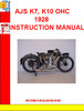 Thumbnail AJS K7, K10 OHC 1928 INSTRUCTION MANUAL