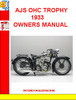Thumbnail AJS OHC TROPHY 1933 OWNERS MANUAL