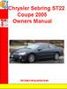 Thumbnail Chrysler Sebring ST22 Coupe 2005 Owners Manual