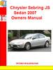 Thumbnail Chrysler Sebring JS Sedan 2007 Owners Manual