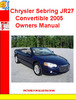 Thumbnail Chrysler Sebring JR27 Convertible 2005 Owners Manual