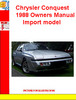 Thumbnail Chrysler Conquest 1988  Owners Manual Import model