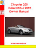 Thumbnail Chrysler 200 Convertible 2012 Owner Manual