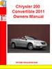 Thumbnail Chrysler 200 Convertible 2011 Owners Manual