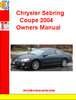 Thumbnail Chrysler Sebring Coupe 2004 Owners Manual