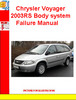 Thumbnail Chrysler Voyager 2003RS Body system Failure Manual