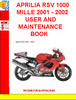 Thumbnail APRILIA RSV 1000 MILLE 2001 - 2002 USER AND MAINTENANCE BOOK