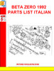 Thumbnail BETA ZERO 1992 PARTS LIST ITALIAN
