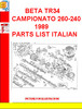 Thumbnail BETA TR34 CAMPIONATO 260-240 1989 PARTS LIST ITALIAN