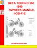 Thumbnail BETA TECHNO 250 1999 OWNERS MANUAL I-GB-F-E