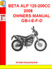 Thumbnail BETA ALP 125-200CC 2008 OWNERS MANUAL GB-I-E-F-D