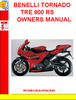 Thumbnail BENELLI TORNADO TRE 900 RS OWNERS MANUAL