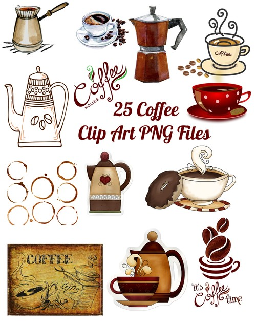 Pay for 25 Coffee Images Clip Art Transparent PNG Files Instant Down
