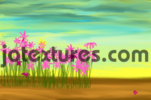 Pay for Flowers Lovely pink daisies folk art digital painting pictur