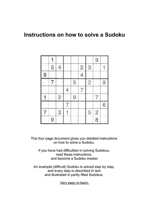 Pay for Instructions on how to solve a Sudoku