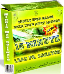 Pay for 15 Minute Lead Page Creator  Triple Your Sales With Your Next Launch - *w/Resell Rights*
