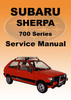 Thumbnail SUBARU SHERPA 1982-1986 700 SERIES WORKSHOP MANUAL