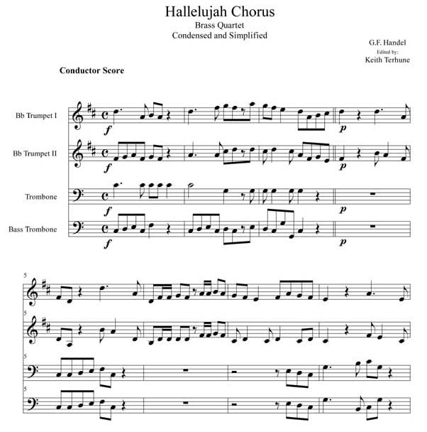 Pay for Hallelujah Chorus Brass Quartet (Condensed and Simplified)