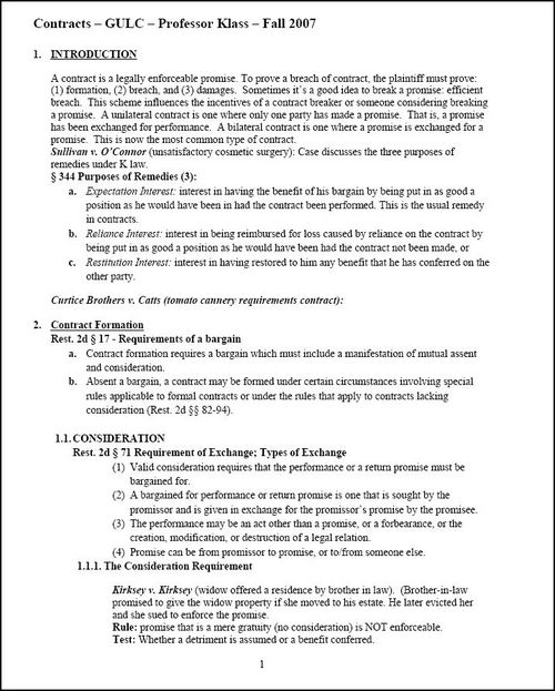 Contracts Outline Gulc Law School Download Law