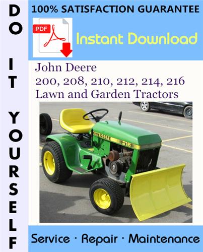 Thumbnail John Deere 200, 208, 210, 212, 214, 216 Lawn and Garden Tractors Service Repair Workshop Manual ☆