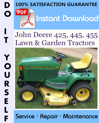 Thumbnail John Deere 425, 445, 455 Lawn & Garden Tractors Technical Manual ☆