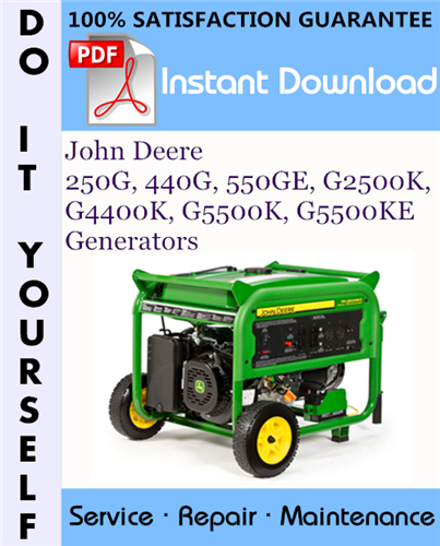 Thumbnail John Deere 250G, 440G, 550GE, G2500K, G4400K, G5500K, G5500KE Generators Technical Manual ☆