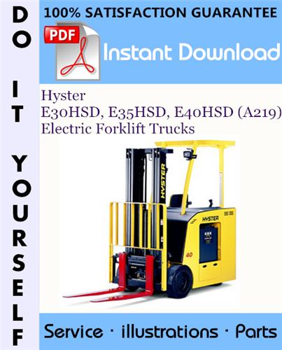 Thumbnail Hyster E30HSD, E35HSD, E40HSD (A219) Electric Forklift Trucks Parts Manual ☆