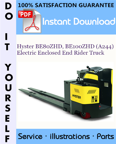 Thumbnail Hyster BE80ZHD, BE100ZHD (A244) Electric Enclosed End Rider Truck Parts Manual ☆
