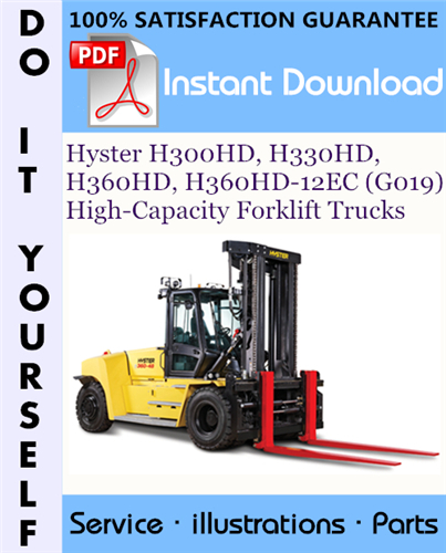 Thumbnail Hyster H300HD, H330HD, H360HD, H360HD-12EC (G019) High-Capacity Forklift Trucks Parts Manual ☆
