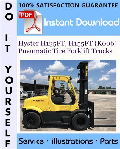 Thumbnail Hyster H135FT, H155FT (K006) Pneumatic Tire Forklift Trucks Parts Manual ☆