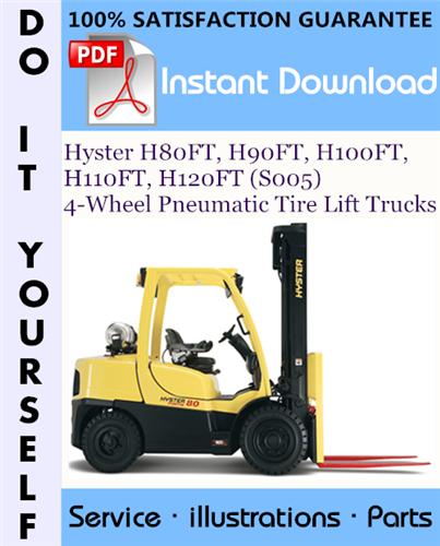 Thumbnail Hyster H80FT, H90FT, H100FT, H110FT, H120FT (S005) 4-Wheel Pneumatic Tire Lift Trucks Parts Manual ☆