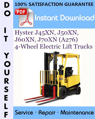 Thumbnail Hyster J45XN, J50XN, J60XN, J70XN (A276) 4-Wheel Electric Lift Trucks Service Repair Workshop Manual ☆