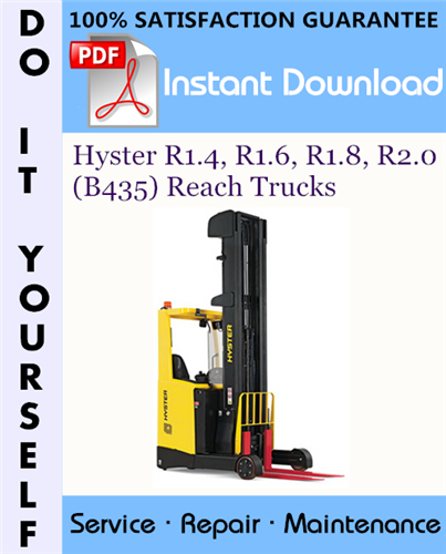 Thumbnail Hyster R1.4, R1.6, R1.8, R2.0 (B435) Reach Trucks Service Repair Workshop Manual ☆