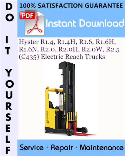 Thumbnail Hyster R1.4, R1.4H, R1.6, R1.6H, R1.6N, R2.0, R2.0H, R2.0W, R2.5 (C435) Electric Reach Trucks Service Repair Workshop Manual ☆