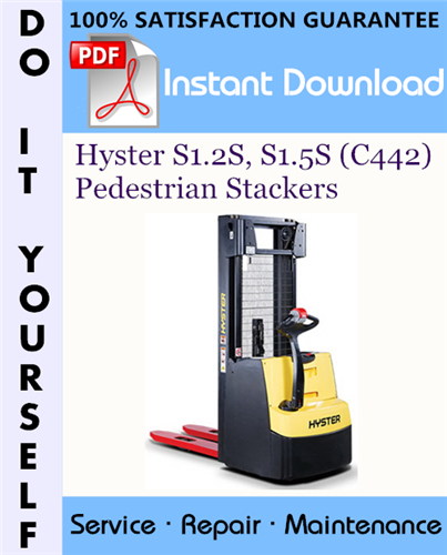 Thumbnail Hyster S1.2S, S1.5S (C442) Pedestrian Stackers Service Repair Workshop Manual ☆