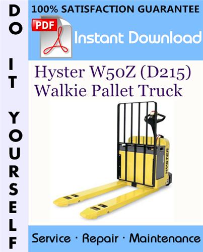 Thumbnail Hyster W50Z (D215) Walkie Pallet Truck Service Repair Workshop Manual ☆