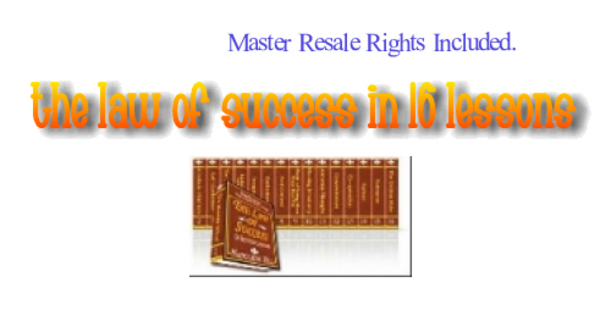 Pay for *NEW* The Law Of Success In 16 Lessons ! Resale Rights Included